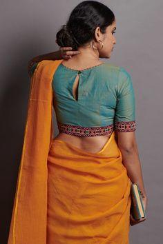Feriz Embroidery Blouse – The Kaithari Project Saree Blouse Neck Designs, Fancy Blouse Designs, Kalamkari Blouse Designs, Designer Blouse Patterns, Blouse Models, Actors, Benarsi Saree, Bollywood Saree, Sabyasachi