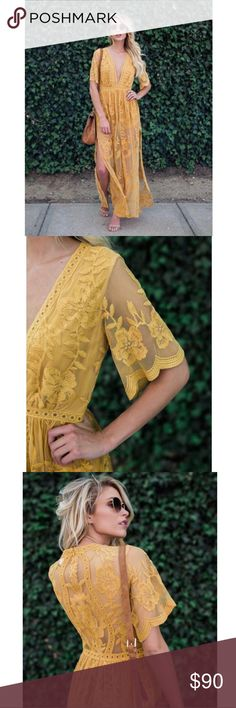 "Honey Punch Mustard Lace Maxi Dress MSRP $128 Gorgeous Honey Punch Mustard Yellow Lace Maxi Dress // our Astrid Lace Dress. Romper style with Embroidered lace and Crochet Maxi. Includes: Sheer lace overlay, built in short liner, plunge neckline, short sleeves, zip back closure, double side slits, and scallop trim throughout!  Honey Punch  EMBROIDERED  Made in USA 100% Polyester Measurements (S 0/2 M 4/6 L 8/10) Bust: 34""- 36"" - 38"" Waist: 26"" - 28"" - 30""  Length: 56.5"" - 56.5"" - 58"" Moda…"