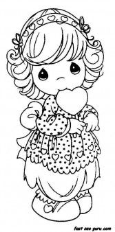 Precious Moments Girls Smile with heart coloring pages - Printable Coloring Pages For Kids