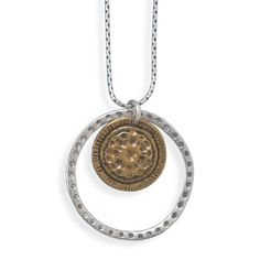 Silver and Brass Circle Pendant Drop Necklace