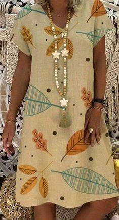 Fashion Casual Short Sleeve Printed Plus Size Dress herhershoes Curvy Fashion, Plus Size Fashion, Boho Fashion, Fashion Dresses, Plus Size Casual, Plus Size Jeans, Casual Summer Dresses, Casual Outfits, Casual Wear