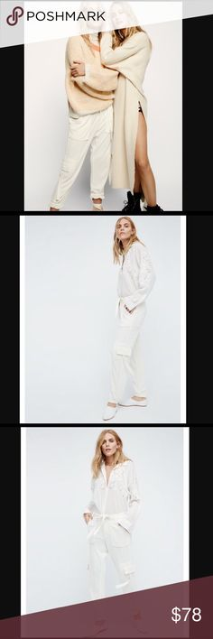 """NWT Free People Cannon Pants in Ivory It's new with tag. Drapey knit pants featuring an effortless belt at the waist and slouchy cool girl pocket accents allover. Front button closures. Elastic band at the ankle for a comfortable fit.  92% Modal, 8% Polyester Machine Wash Cold  Waist: 34"""" = 86.36 cm Rise: 12"""" = 30.48 cm Free People Pants Track Pants & Joggers"""
