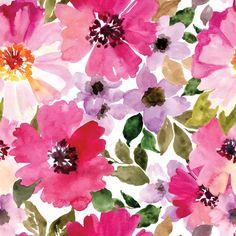 Cambio de almohadilla cubierta de flores acuarela por woolfwithme