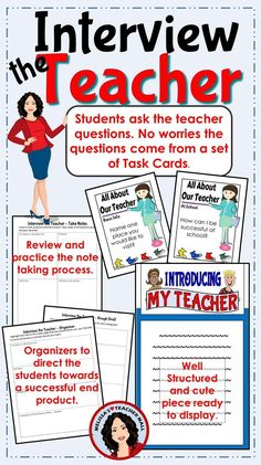 Beginning of the year is the time that we are getting to know each other. Interview the teacher is a fun way for the students to get to know you. This structured writing piece is a great way for the students to learn about you and create a written project
