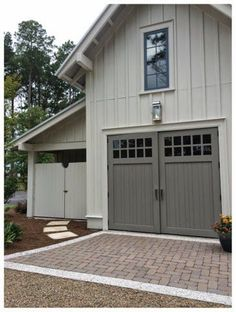 One car garage, golf cart storage, or carriage house.  2014 Southern Living Idea House in Palmetto Bluff, SC | The Lowcountry Lady  ~ Great pin! For Oahu architectural design visit http://ownerbuiltdesign.com