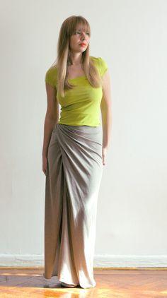 Organic cotton one seam draped maxi skirt $59