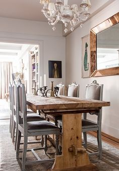 rustic table with old french style chairs- Inside the NYC Home of Designer Michelle Smith Dining Room Design, Dining Area, Dining Rooms, Dining Decor, Dining Tables, Neutral Living Room Paint, Reclaimed Furniture, Refinished Furniture, Pipe Furniture