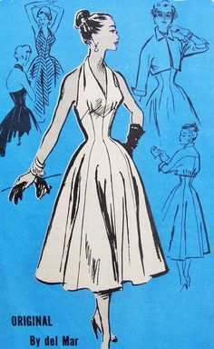 1950s Prominent Designer 690 Vintage Sewing Pattern Hot Sizzling Marilyn Monroe Style Halter Dress and Crop Jacket Figure Flattering Bombshell Style Bust 28