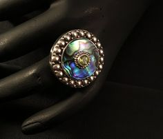 Abalone and Garnet set in Sterling Silver from Bali