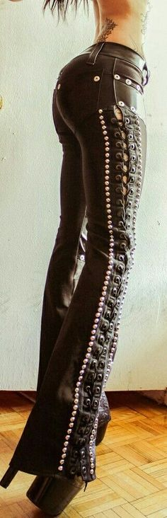 Sexy, laced up, leather, bell bottoms