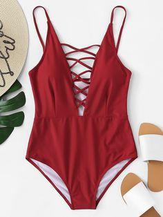 Shop Criss Cross Plunging One Piece Swimsuit online. SheIn offers Criss Cross Plunging One Piece Swimsuit & more to fit your fashionable needs. Modest Swimsuits, Plus Size Swimsuits, Cute Swimsuits, Women Swimsuits, Plunging One Piece Swimsuit, 1 Piece Swimsuit, One Piece Swimwear, Bikini Swimwear, One Piece Swimsuit Flattering