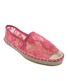Look what I found on #zulily! Pink Lace Espadrille Flat by OLIVIA MILLER #zulilyfinds