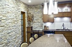 Kitchen Design with Natural Stone Panels by ErthCOVERINGS