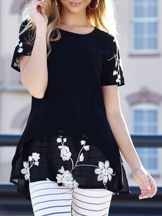 Scoop Neck Short Sleeves Embroidered Stylish Long Blouse For Women