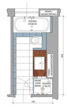 Schmales badezimmer minimalistisches design dusche for Badezimmer ideen 9qm
