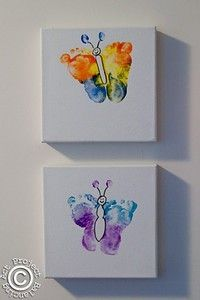 Love this idea - baby feet butterfly art!