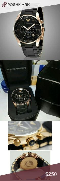 NWT Emporio Armani Chronograph rose/black watch Emporio Armani Chronograph Rose Gold Black Men's Watch  FIRM PRICEFIRM PRICE FIRM PRICE FIRM PRICE  $270.00 . AUTHENTIC WATCH  . AUTHENTIC BOX  . AUTHENTIC MANUAL   SHIPPING  PLEASE ALLOW FEW BUSINESS DAYS FOR ME TO SHIPPED IT OFF.I HAVE TO GET IT FROM MY WAREHOUSE   THANK YOU FOR YOUR UNDERSTANDING. emporio Armani  Accessories Watches