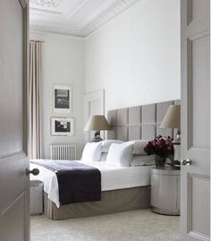 Superb Imposing Grey Squared Headboard On This Contemporary Bedroom Design