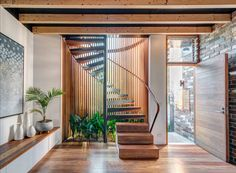 Aqua Perma Solar Firma Spiral Staircase - Industrial - Staircase - Sydney - by CplusC Architectural Workshop Home Stairs Design, House Design, Stair Design, Design Homes, Interior Stairs, Interior Architecture, Alexandria House, Timber Battens, Front Courtyard
