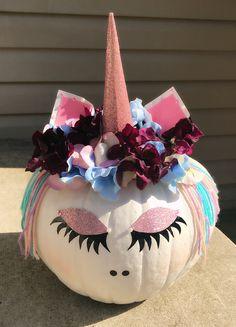 Unicorn Pumpkin my 10 year old daughter made! Pop Culture Halloween Costume, Creative Halloween Costumes, Halloween Crafts, Halloween Decorations, Halloween Pumpkins, Fall Halloween, Happy Halloween, Halloween Halloween, Maleficent Halloween