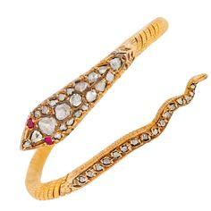 1stdibs.com | Contemporary Rose Cut Diamond & Ruby Snake Gold Bracelet