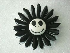 White Skeleton Halloween Black and White Flower by OctoberPetals, $13.75