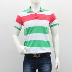 United Colors of Benetton – White Green Striped Polo T-Shirt Polo T Shirts, Benetton, Green Stripes, Men's Collection, Outlets, Polo Ralph Lauren, Break Outs, Polo Shirts