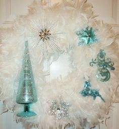 Blue Silver White Feather Christmas Wreath Snowflake Deer Snowman.