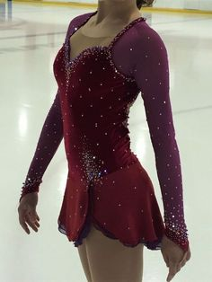 Image result for burgundy figure skating dress with jewels
