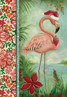 Custom Décor Garden Flag Holiday Flamingo Christmas