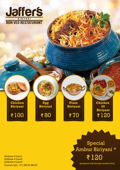 New Design Flyer Food Ideas Ideas food poster Menue Design, Menu Card Design, Food Graphic Design, Food Poster Design, Food Menu Design, Food Truck Festival, Restaurant Logo Design, Restaurant Flyer, Biryani