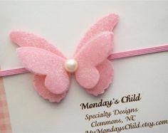 Felt Butterfly Headband - Butterfly Headband - Newborn Headband, Baby Headband…