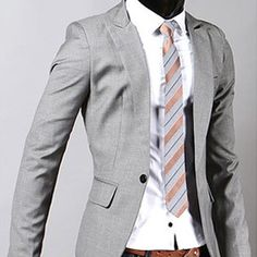Mens Premium Slim fit one-Button Blazer (gray)
