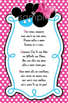 Please Bring a Book Instead Of A Card Mickey and Minnie Mouse Invitation Insert - Mickey Minnie Baby Shower Invitation Insert. $3.00, via Etsy.