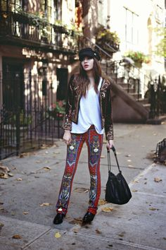 Natalie Off Duty-velvet and prints, oh my!