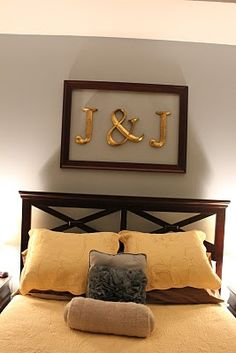 initials in one large frame or can put each initial in own frame