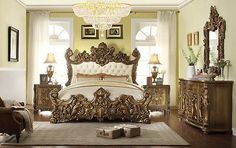 5 pc Queen Victoria renaissance style antique silver queen bedroom ...