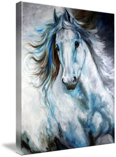 """""""WHITE THUNDER ARABIAN EQUINE ABSTRACT"""" by Marcia Baldwin, Shreveport, Louisiana // The nature of the equine is depicted in this fluid abstract original oil painting by Marcia Baldwin. The original is available direct from www.mbaldwinfineart.com // Imagekind.com -- Buy stunning fine art prints, framed prints and canvas prints directly from independent working artists and photographers."""