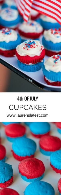4th of July Cupcakes! These are the most patriotic cupcakes ever. Plus super simple to put together! Cake mix, homemade vanilla buttercream and sprinkles! The best!