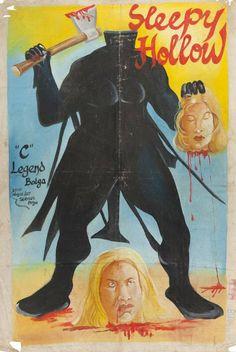 Sleepy Hollow - Ghana movie poster, bootleg, handpainted, c1980.