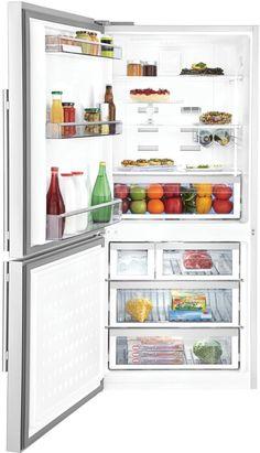 $1700 - 30X30X67 - GOOD MIDDLE GROUND W/ICE. Blomberg BRFB1822SSLN 30 Inch Counter Depth Bottom Freezer Refrigerator with 17.8 cu. ft. Capacity, 2 Glass Shelves, Wine Rack, Blue…
