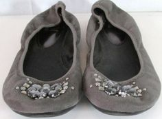 R2 - Grey Jewel Embellished Flat Shoes -Size 10M -Manmade materials/stone design -Ballet style -No box