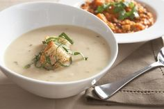 White Bean Rosemary Soup with Jumbo Croutons & Fresh Basil