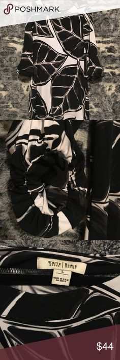 """WHBM dress White House Black Market black, white and grey leaf printed polyester dress. Pit to pit measures 17"""". Length from shoulder to bottom measures 34"""". White House Black Market Dresses Midi"""