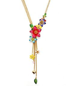 betsey johnson gold plated multi floral y-necklace