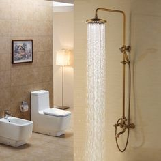 Rozinsanitary Antique Brass Rain Bathroom Shower Faucet Set W/ Hand Shower Tub Mixer Tap in Bathtub & Shower Systems. Bathroom Shower Faucets, Bath Shower Mixer Taps, Shower Faucet Sets, Shower Fixtures, Brass Bathroom, Bathtub Shower, Tub Faucet, Shower Set, Bathrooms