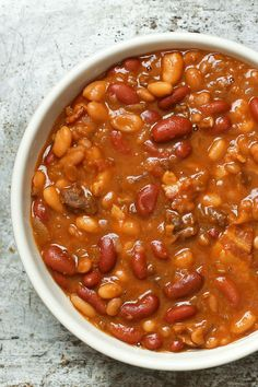 The Best Slow Cooker Baked Beans recipe by Barefeet In The Kitchen