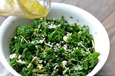 Simple Kale Salad with Lemon Vinaigrette isa healthy addition to lunch or dinner. Added sliced almonds and parmesan cheese pair perfectly with the tangy lemon dressing. Broccoli Salad With Raisins, Kale Salad Recipes, Veggie Recipes, Vegetarian Recipes, Cooking Recipes, Veggie Meals, Lemon Dressing Recipes, Lemon Vinaigrette Dressing