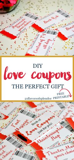 Free printable love coupons are the perfect DIY gift. Great for your husband or boyfriend on Valentine's Day, Anniversary, Birthday, or just because. Click...