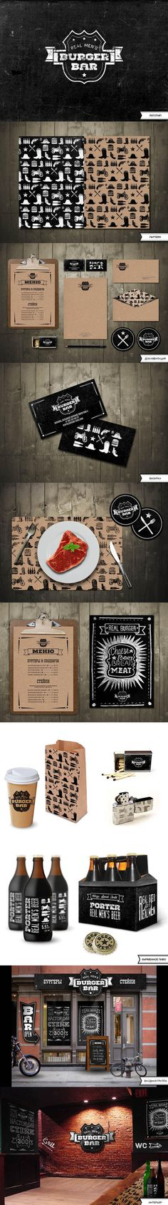 "I really like this entire suite of products. I like the patterns, the logo, the textures, etc. ""identity / REAL MEN'S BURGER BAR by Masha Solyankina"" Corporate Design, Graphic Design Branding, Corporate Identity, Identity Design, Typography Design, Brand Identity, Visual Identity, Food Branding, Restaurant Branding"